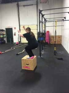"Jill successfully hit the 18"" box....post-workout too!"