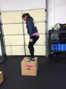 "Colleen H. upgraded to an 18"" box! PLUS she is swinging a 30lb. kettlebell!"